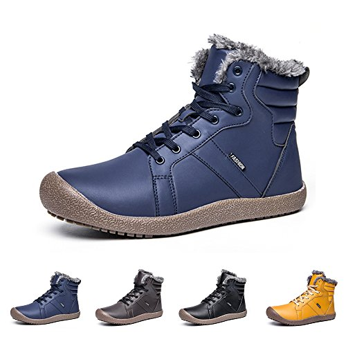 Pelliccia Caviglia Impermeabile Completamente Uomo A blu Kealux Donna Foderato Inverno Antiscivolo Scarpe Neve Con Stivali La tq7t4Iw