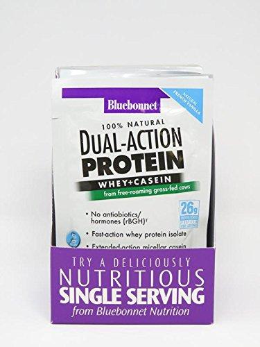 Bluebonnet Nutrition Dual Action Protein Powder, Vanilla Flavor, 26 g (8 Count)