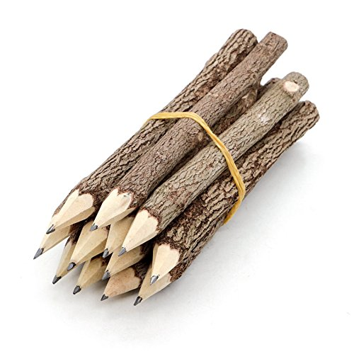 - BSIRI Pencil Wood Favors of Graphite Wooden Tree Rustic Twig Pencils Unique Birch of 12 Camping Lumberjack Decorations Party Supplies Novelty Gifts as a Natural Pencil Gifts for Kids in Classroom