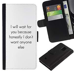 iBinBang / Flip Funda de Cuero Case Cover - Un solo corazón Texto Inspiring - Samsung Galaxy S5 Mini, SM-G800, NOT S5 REGULAR!