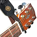 Acoustic Guitar Strap Button Holder; NEW 2 Guitar Picks & Key Chain Pack! Brown Leather with Metal Fastener; Replaces String Tie; Fits Above Neck on Headstock; Compatible With Most Models and Straps
