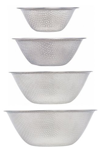 Sori Yanagi Perforated strainer - 16cm ? 19cm ? 23cm ? 27cm 4pcs 316076] (Japan Import) by Sori Yanagi