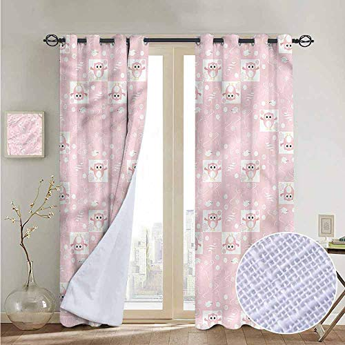 NUOMANAN Bedroom Curtain Kids,Pink Owls Birds Floral,Insulating Room Darkening Blackout Drapes 52