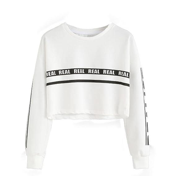 Mujer Sudaderas Cortas,ZARLLE 2018 Primavera Blanco Letra AlgodóN Manga Larga Blusa Tops Camiseta Blusa