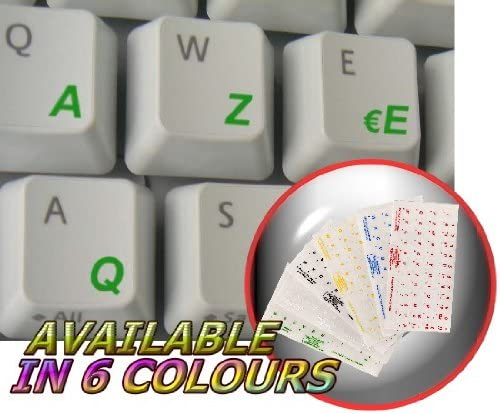FRENCH AZERTY KEYBOARD STICKER WITH GREEN LETTERING ON TRANSPARENT BACKGROUND
