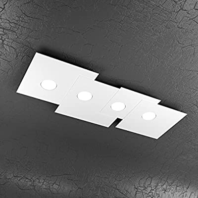 Plafoniera Moderna Led.Plate Plafoniera Moderna Bianco Led 4 Luci Design Originale 1129 Pl4 R Bi