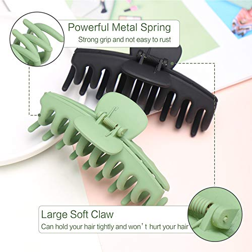 6 PCS Hair Claw Clips for Women, Strong Hold Matte Hair Claw Clips for Thick Hair, Fashion Hair Styling Accessories for Girls, Large Hair Clips for Women Thick Hair(6 Colors)