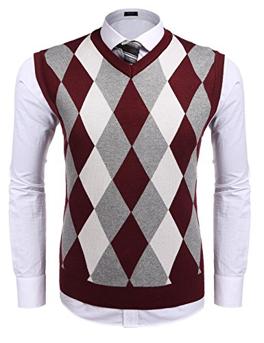 Discount Coofandy Men's Casual Slim Fit V-neck Rhombus Business Knitwear Sweater Vest for sale
