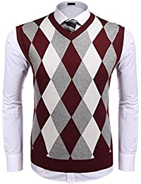 Men's Casual Slim Fit V-Neck Rhombus Business Knitwear Sweater Vest