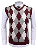 Mens Sweater Vest, Slim Fit Casual V-Neck Argyle Cotton Knit Vest Waistcoat