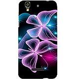 Casotec Butterflies Neon Light Design Hard Back Case Cover for Micromax Yu Yureka AQ5510 / AO5510