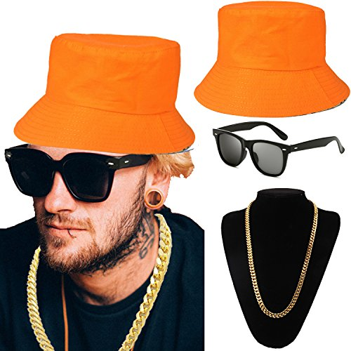 (ZeroShop 80s/90s Hip Hop Costume Kit - Cotton Bucket Hat,Gold Chain Beads,Oversized Rectangular Hip Hop Nerdy Lens Sunglasses (OneSize,)
