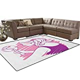 Zodiac Gemini,Carpet,Young Teenage Girl on Pink Looking at Herself in The Mirror,Rugs for Living Room,Purple Pale Pink and White Size:5'x6'