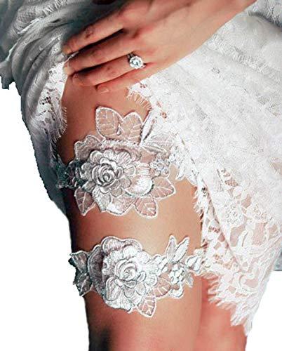 YuRong Bridal Rose Style Garter Set Wedding Stretch Garter Set G44 (Silver) ()