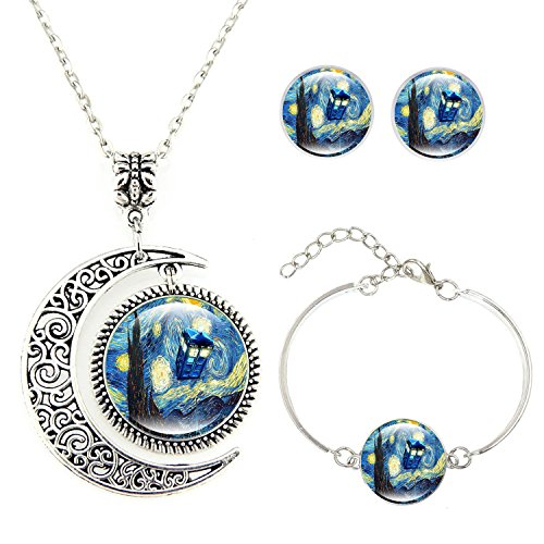 Moon Pendant Tardis Starry Night Necklace Van Gogh Jewelry Personalized Necklace Bracelet Earrings jewelry Set ()