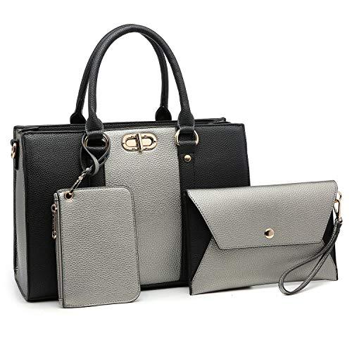 Women Fashion Two Tone Medium Handbags Top Handle Satchel Purse Shoulder Bag with Wallet and Wristlet 3pcs Purse Set (Silver/Black)