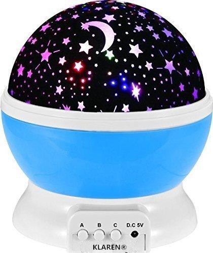 KLAREN® Romantic Night Lighting Projector, Creative Kids Bedroom Lamp ,Romantic Rotating Cosmos Star Sky Moon Projector, Love Gift ,Meditation Light (Blue)