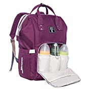Baby Diaper Bag Backpack Multi-Function Waterproof Travel Nappy Tote Bags Large Capacity Creative Fashion Package For Both Mon&Dad//Purple