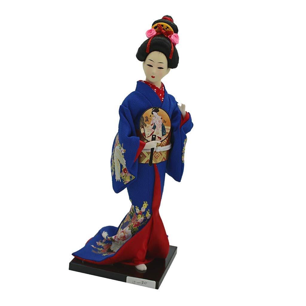 CUTICATE 1//6 Vintage Japanese Kimono Geisha Doll Figure Dark Blue Clothes Home Decor