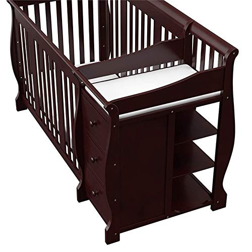 Pemberly Row 4-in-1 Convertible Crib and Changing Table Combo in Espresso, Three Level Adjustable Mattress Height, Easily Converts to Toddler Bed or Day Bed