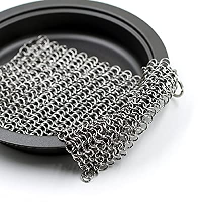 Cast Iron Cleaner Chainmail Scrubber XL 8X6 Inch Highest Grade ss316 Handcrafted Stainless Steel Skillet, Cookware Cleaner + Free Cleaning Cloth