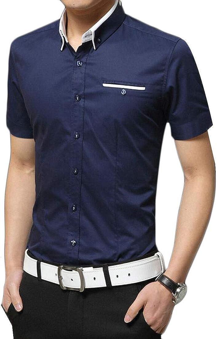 Keaac Mens Short Sleeve Solid Dress Shirt Casual Slim Fit Button Down Shirt