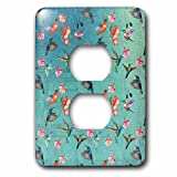 3dRose Uta Naumann Pattern - Floral Teal Vintage Watercolor Fuchsia Pattern With Hummingbirds - Light Switch Covers - 2 plug outlet cover (lsp_266853_6)