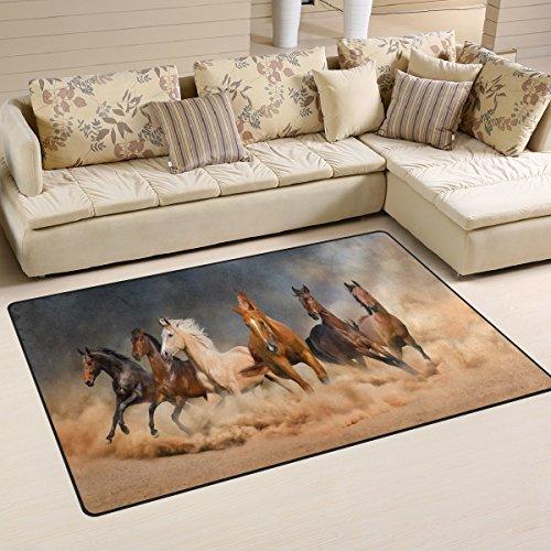 WOZO Horse Herd Desert Sand Storm Area Rug Rugs Non-Slip Floor Mat Doormats Living Room Bedroom 60 x 39 inches