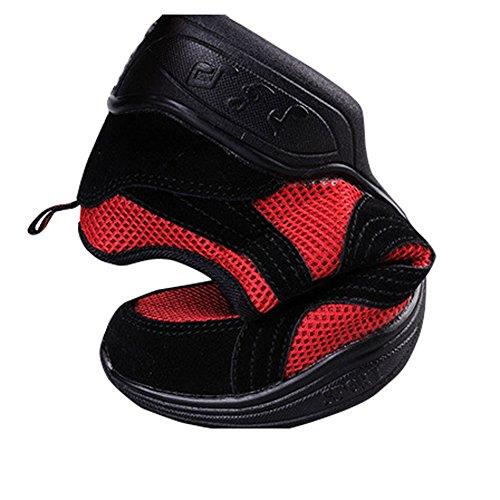 Fereshte Femmes Split Semelle Jazz Danse Chaussures Pratique Chaussures Formateurs Lightweigh Dance Sneaker Noir Et Rouge