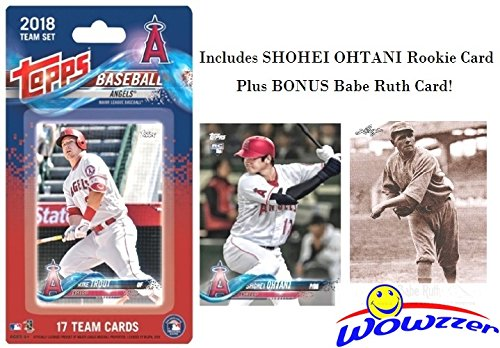 Los Angeles Angels 2018 Topps Baseball EXCLUSIVE Special Limited Edition 17 Card Complete Team Set with SHOHEI OHTANI FIRST ROOKIE, Mike Trout, Albert Pujols & More Plus BONUS BABE RUTH Card! WOWZZER (Team Mlb Topps Set)