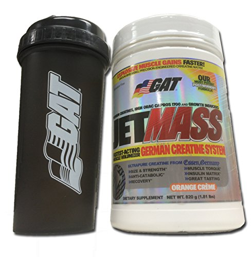 GAT Jetmass Fast-Acting Creatine Muscle Gainer, 1.81lbs with BONUS GAT Shaker Bottle (Orange Creme)