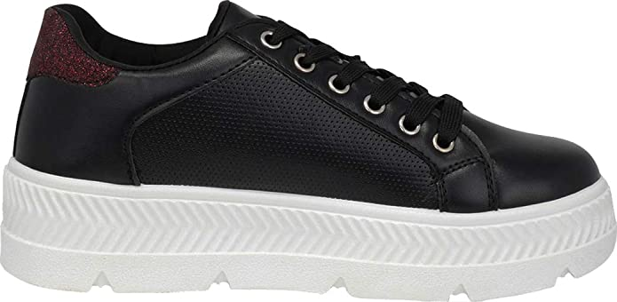 69c00a8722203 Cambridge Select Women's 90s Low Top Lace-Up Perforated Glitter Chunky  Platform Flatform Fashion Sneaker