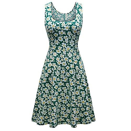 iLUGU Boat Collar Sleeveless Knee-Length Dress for Women Small Daisy Print A-Line Knit Dress Green