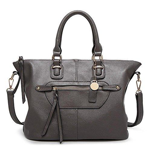 Penao Bolso de la manera, bolso del Mensajero de Dama Retro solo hombro, tamaño 33cmx17cmx25cm Grey