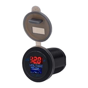 TurnRaise 12V Voltimetro Coche 2.1a USB Cargador Encendedor Enchufe para Moto Marina Barco (Rojo)