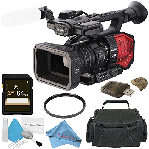 Panasonic AG-DVX200 4K Camcorder with Four Thirds Sensor and Integrated Zoom Lens + 64GB SDXC Card + 72mm UV Filter + Card Reader + Fibercloth + Carrying Case + Deluxe Cleaning Kit Bundle