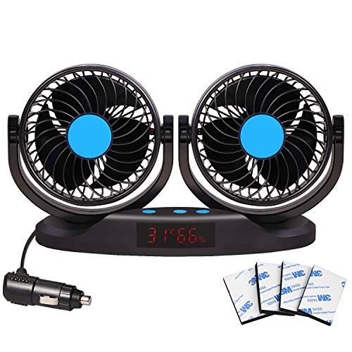 EXCOUP Car Fan 12V Vehicle Fan with 12 Speeds, 5 inch Truck Air Fan LED Display with Temperature & Humidity Dual Head 360 Degree Rotatable