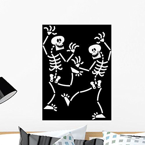Wallmonkeys Couple of Halloween Skeletons While Happily Dancing Wall Decal Peel and Stick Graphic WM152896 (24 in H x 19 in W)
