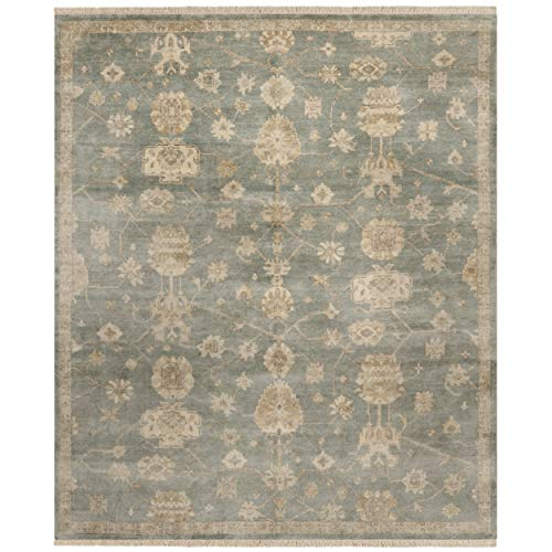 Safavieh Oushak Collection OSH751B Hand-Knotted Blue and Ivory Wool Area Rug (6' x 9') (Renewed)