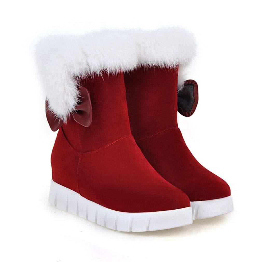 Hy 2018 Frauen Schnee Stiefel Wildleder Wildleder Wildleder Winter Slip-Ons Dicke Unterseite Bowknot Stiefelies Damen Große Größe Plus Cashmere Skiing Schuhe (Farbe   Rot Größe   39) 6af66a