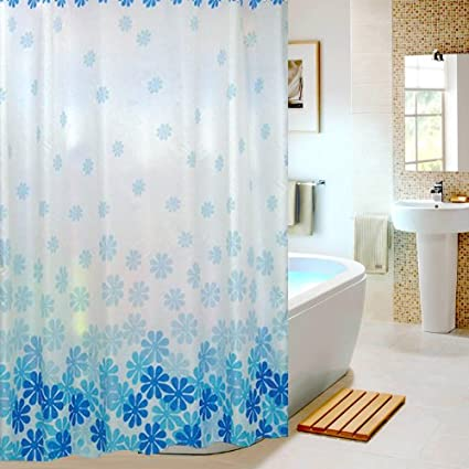 Extra Long Hookless Shower Curtain - 60-Inch by 80-Inch, Blue White ...