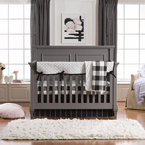 Liz and Roo - Juego de ropa de cama (3 piezas), diseño moderno, sin parachoques, color blanco y negro