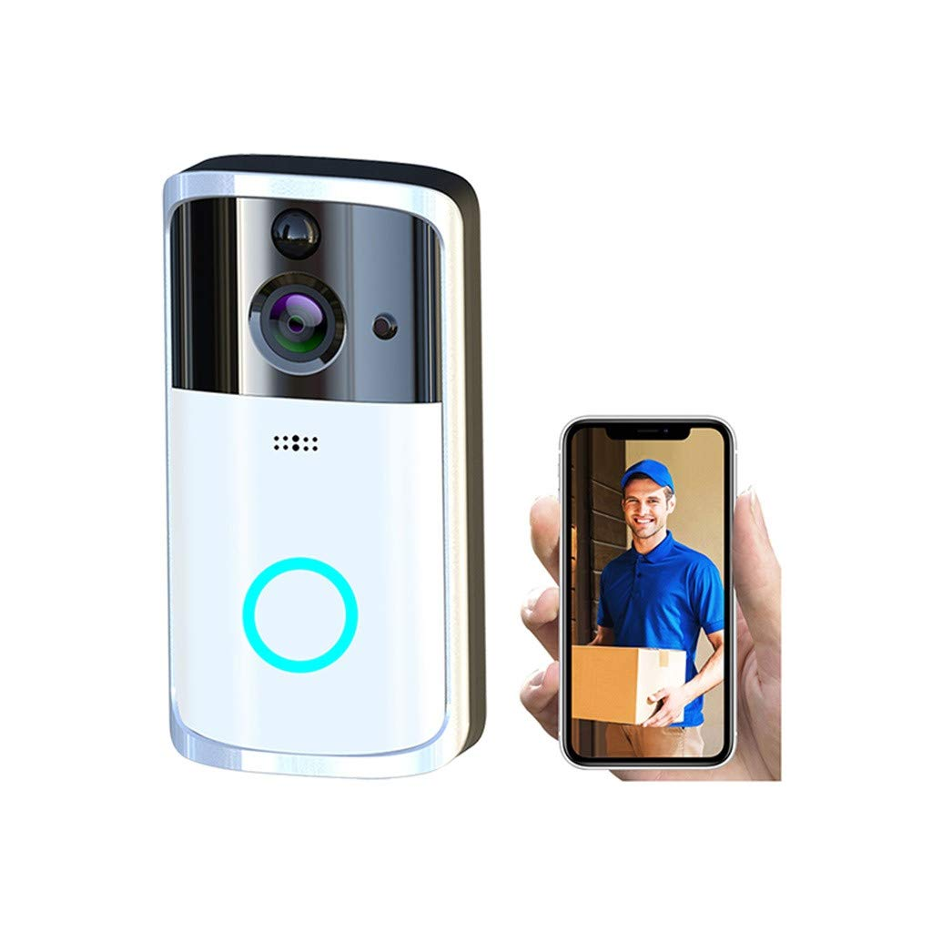1080P Smart WIFI Security Doorbell Wireless Video Phone Camera Night Vision (Silver)