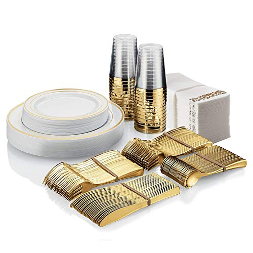350 Piece Gold Dinnerware Set ~ 100 Gold Plastic Plates ~ 50 Gold Plastic Silverware ~ 50 Gold Plastic Cups ~ 50 Linen Like Gold Paper Napkins, 50 Guest Disposable Gold Dinnerware Set ()