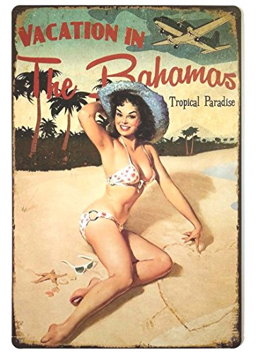 ERLOOD Vacation in The Bahamas Beach Pin up Girl Retro Vintage Decor Metal Tin Sign 12 X 8 Inches