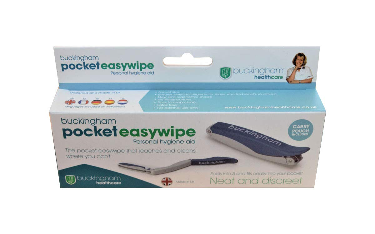 Buckingham Pocket Easywipe Bottom Wiper with Soft Touch Carry Pouch Folding Personal Hygiene Aid to Assist with Wiping Extends Reach for Improved Personal Hygiene Grips and Releases Toilet Tissue.