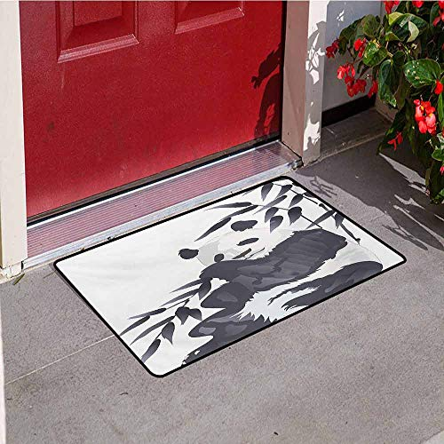 (Jinguizi Panda Commercial Grade Entrance mat Giant Panda Bear Sitting in Zoo Traditional Chinese Painting Monochrome Picture for entrances garages patios W31.5 x L47.2 Inch Cadet Blue White )