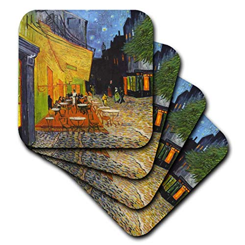 3dRose cst_155653_3 Cafe Terrace at Night by Vincent Van Gogh-1888-Restaurant French Street-Coffeehouse-Ceramic Tile Coasters, Set of 4