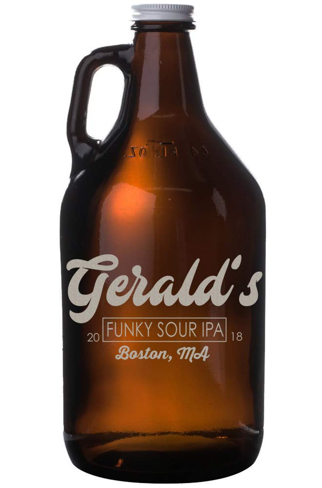 Personalized Etched 64oz Amber Beer Growler