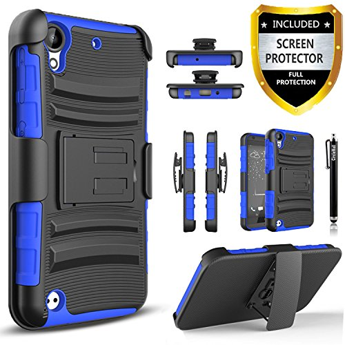 HTC Desire 555 Case, HTC Desire 530 Case, Combo Shell Cover Kickstand with Built-in Holster Locking Belt Clip+Circle(TM)Touch Screen Pen And HD Screen Protector-Blue